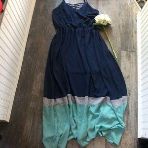 Umgee | Navy & Teal Maxi Dress